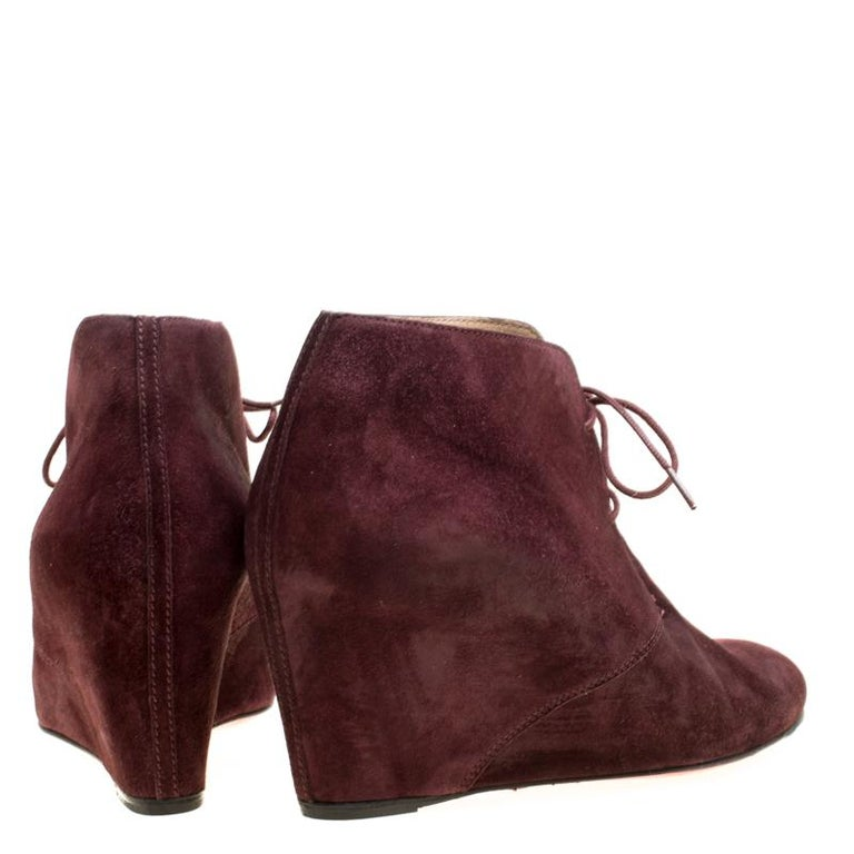 new concept c70d8 e8659 Christian Louboutin Wine Suede Compacta Wedge Heel Lace Up Boots Size 38