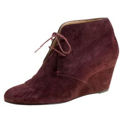 Christian Louboutin Wine Suede Compacta Wedge Heel Lace Up Boots Size 38