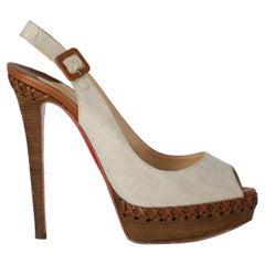 Christian Louboutin  Women   Sandals  Beige, Camel Color Fabric EU 38.5