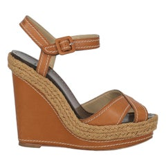 Christian Louboutin Women  Wedges Camel Color Leather IT 36