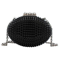 Christian Louboutin Women's Black Mina Spiked Oval Clutch