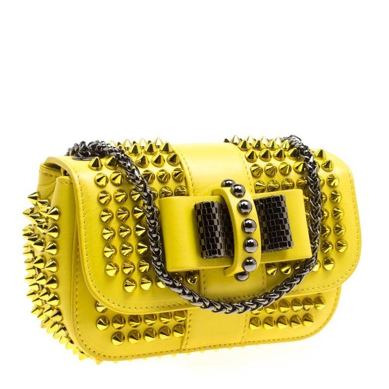 030577f6b38 Christian Louboutin Yellow Leather Mini Spiked Sweet Charity Crossbody Bag
