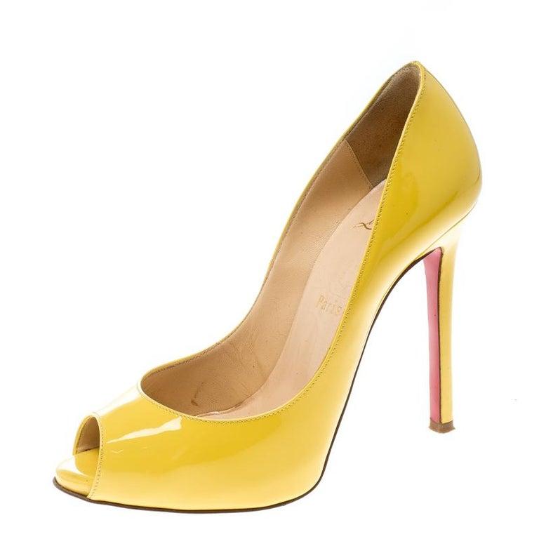 newest cc3ff 130f5 Christian Louboutin Yellow Patent Leather Flo Peep Toe Pumps Size 36.5
