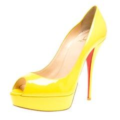 Christian Louboutin Yellow Patent Leather Lady Peep Toe Platform Pumps Size 39
