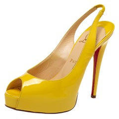 Christian Louboutin Yellow Patent Leather Private Number Sandals Size 38