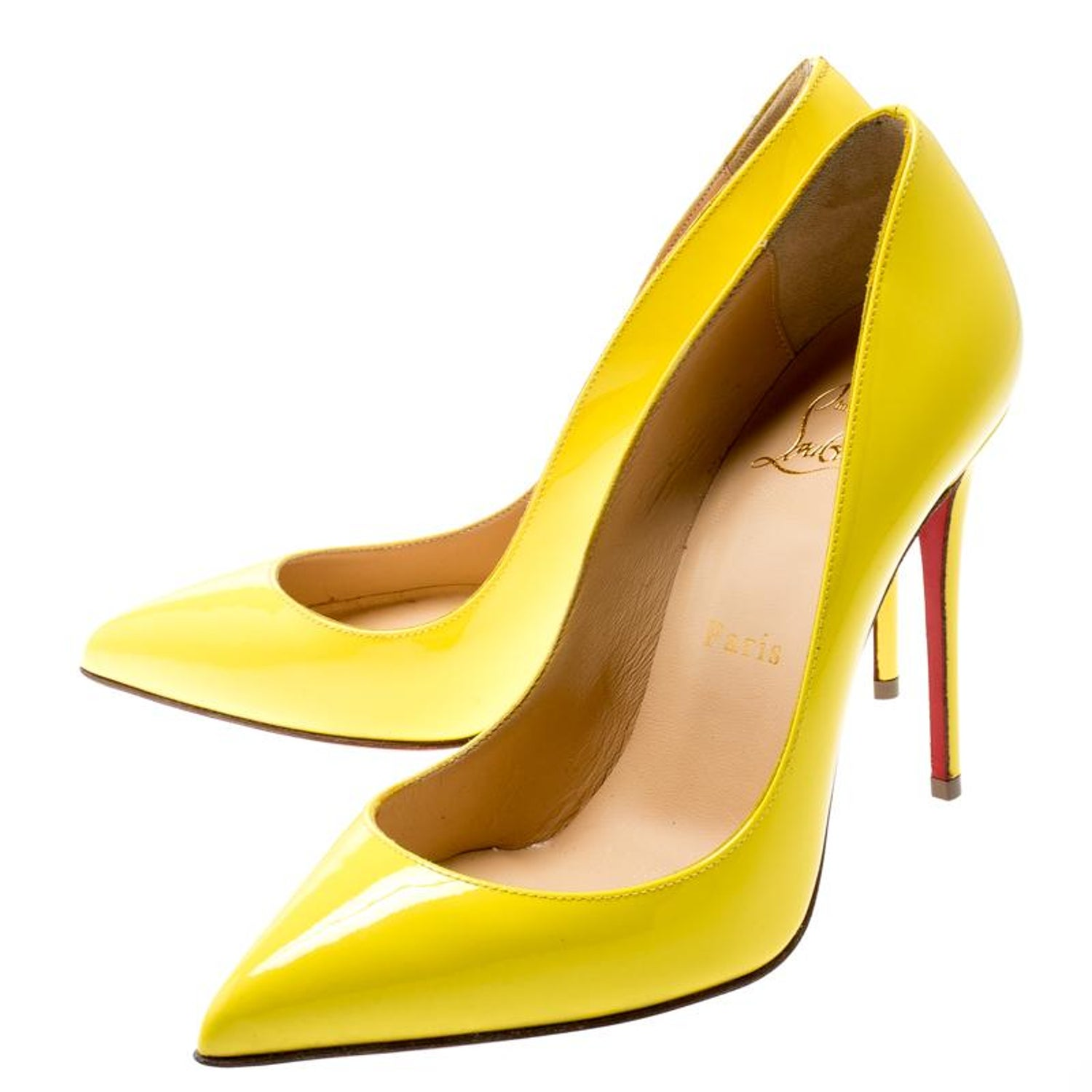 best sneakers b5979 2934b Christian Louboutin Yellow Patent Leather So Kate Pointed Toe Pumps Size 36