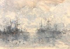 Bateaux dans les Nuages by Christian Nepo, Impressionist Painting on Paper