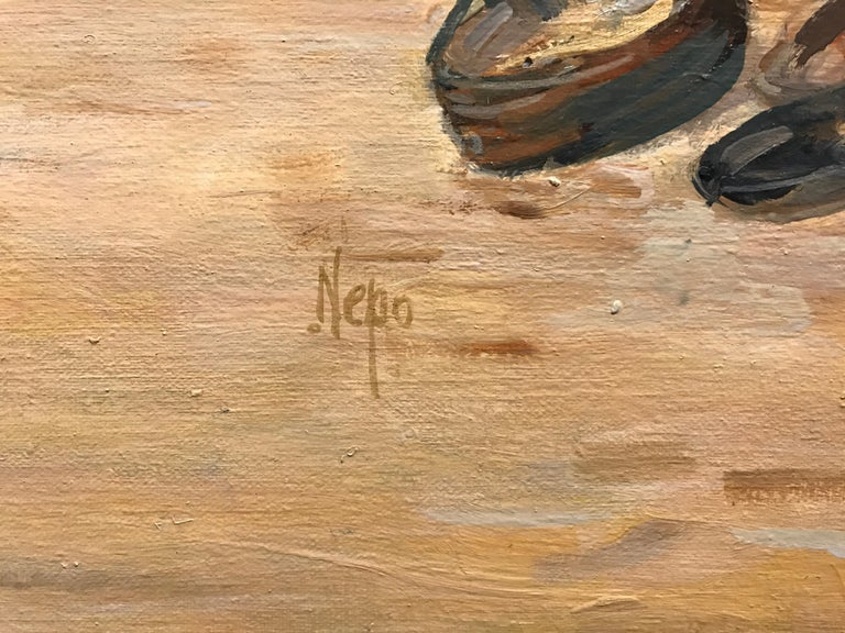 Houlgate by Christian Nepo, Large Impressionist Oil on Canvas Seascape Painting For Sale 1