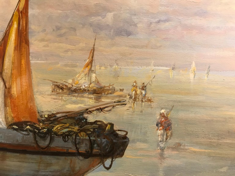 Houlgate by Christian Nepo, Large Impressionist Oil on Canvas Seascape Painting For Sale 3