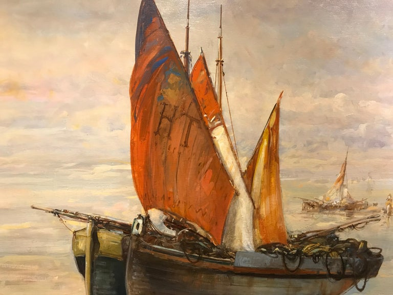 Houlgate by Christian Nepo, Large Impressionist Oil on Canvas Seascape Painting For Sale 4