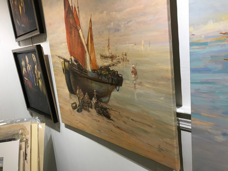Houlgate by Christian Nepo, Large Impressionist Oil on Canvas Seascape Painting For Sale 6