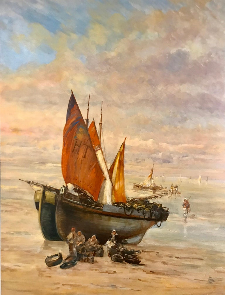 'Houlgate' is a large Impressionist oil on canvas seascape painting created by French artist Christian Nepo in the 21st century. Featuring a palette made of pink, cream, blue, grey and orange tones, the painting captivates us with its romantic