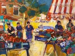 Market with Striped Umbrella by Christian Nepo, Framed Oil on Canvas Painting
