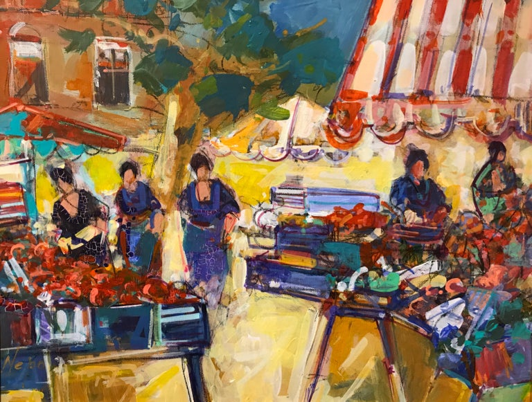'Market with Striped Umbrella' is a small oil on canvas painting created by French artist Christian Nepo in the 21st century. Conceived a decade before his passing in 2016, the painting attracts our attention with its vibrant palette and joyous