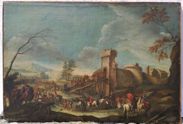 18th century Italian landscape painting - Battle oil on canvas - Italy Louis XIV - Painting by Christian Reder (Monsù Leandro)
