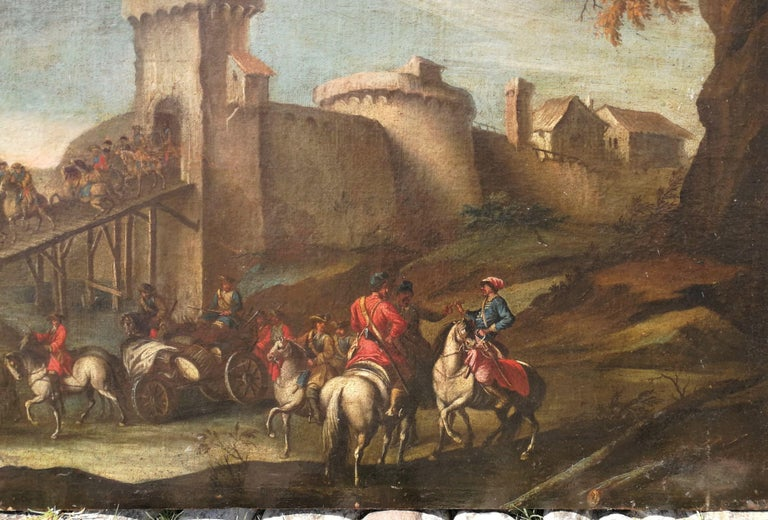 18th century Italian landscape painting - Battle oil on canvas - Italy Louis XIV - Old Masters Painting by Christian Reder (Monsù Leandro)