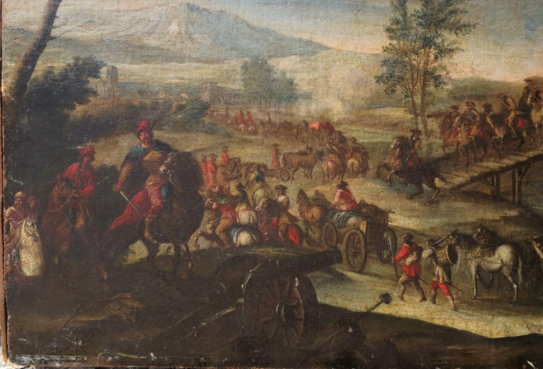 18th century Italian landscape painting - Battle oil on canvas - Italy Louis XIV - Beige Figurative Painting by Christian Reder (Monsù Leandro)