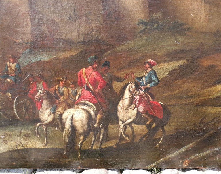18th century Italian landscape painting - Battle oil on canvas - Italy Louis XIV For Sale 1