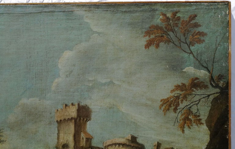 18th century Italian landscape painting - Battle oil on canvas - Italy Louis XIV For Sale 2