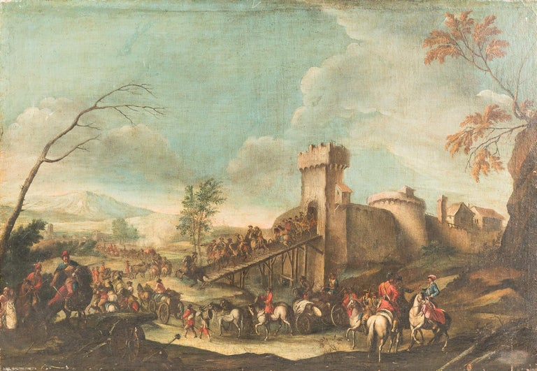 Christian Reder (Monsù Leandro) Figurative Painting - 18th century Italian landscape painting - Battle oil on canvas - Italy Louis XIV