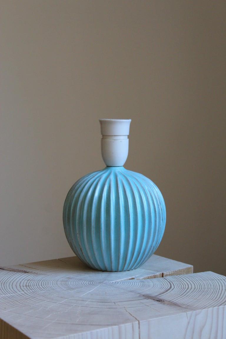 Mid-Century Modern Christian Schollert, Table Lamp, Blue-Glazed Stoneware, Linen, Denmark 1960s For Sale