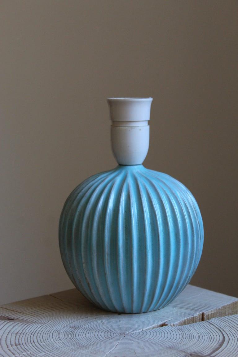 Danish Christian Schollert, Table Lamp, Blue-Glazed Stoneware, Linen, Denmark 1960s For Sale