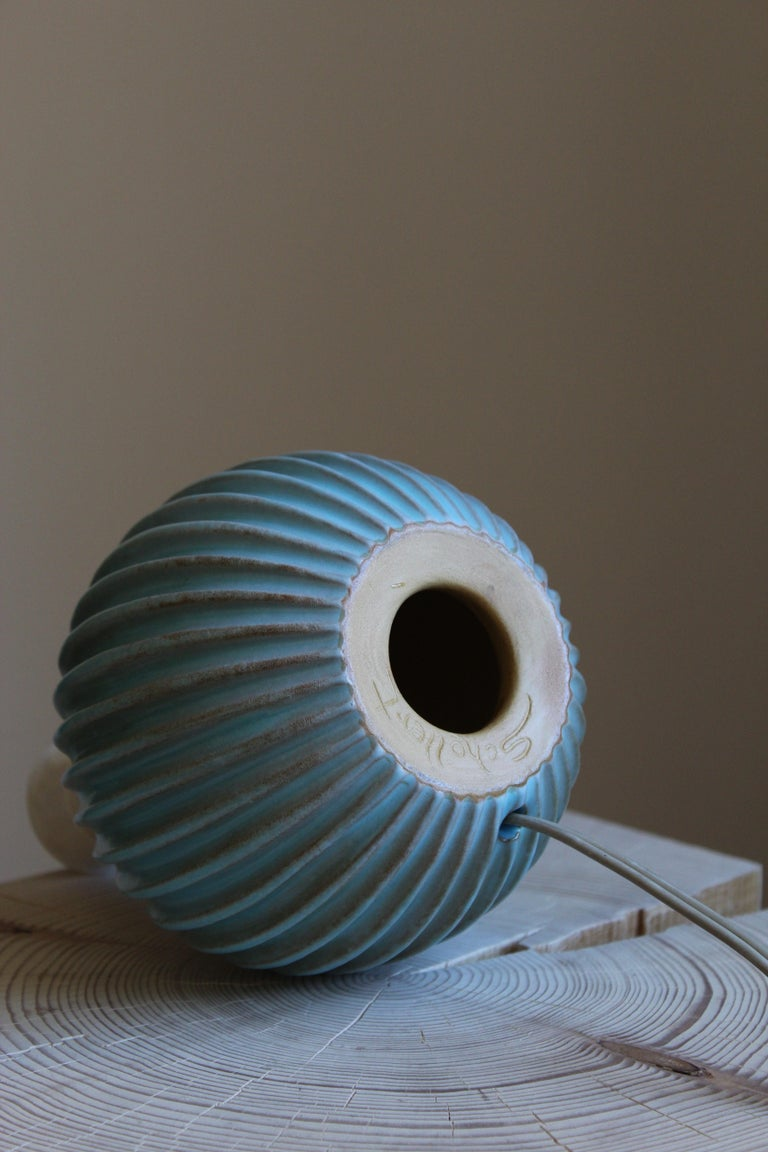 Christian Schollert, Table Lamp, Blue-Glazed Stoneware, Linen, Denmark 1960s In Good Condition For Sale In West Palm Beach, FL