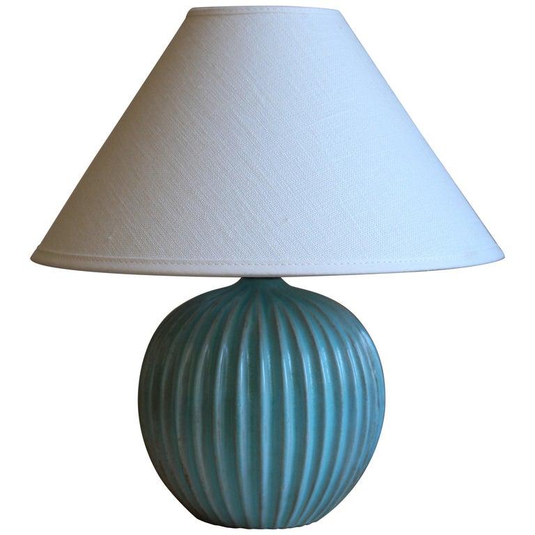 Christian Schollert, Table Lamp, Blue-Glazed Stoneware, Linen, Denmark 1960s For Sale