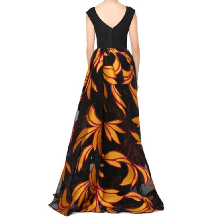 Christian Siriano Black and Yellow Silk Printed Gown S In New Condition For Sale In Dubai, AE