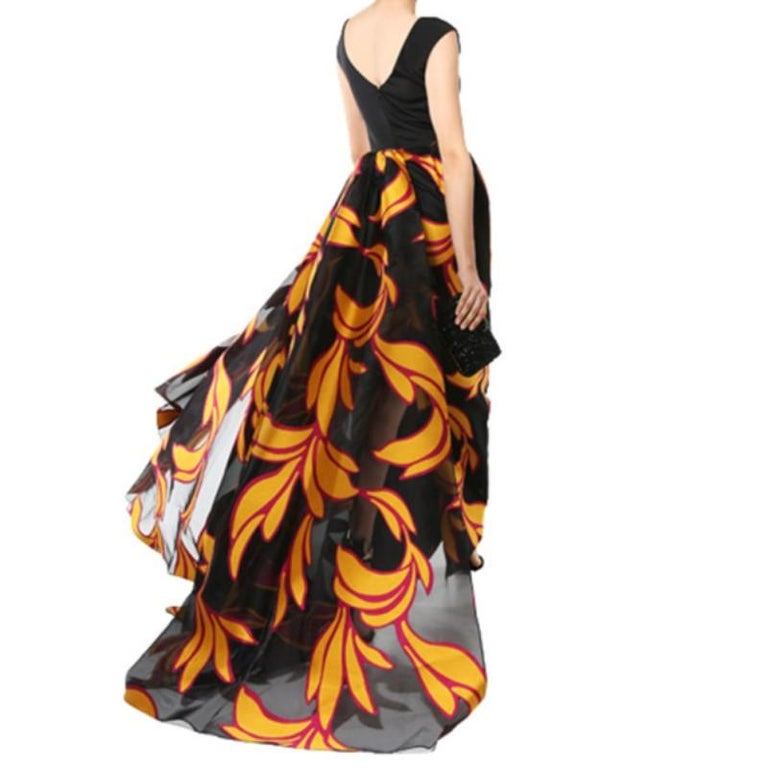 Women's Christian Siriano Black and Yellow Silk Printed Gown S For Sale