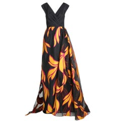 Christian Siriano Black and Yellow Silk Printed Gown S