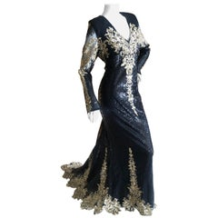Christian Siriano Exquisitely Embellished Black and Gold Evening Dress w Train L