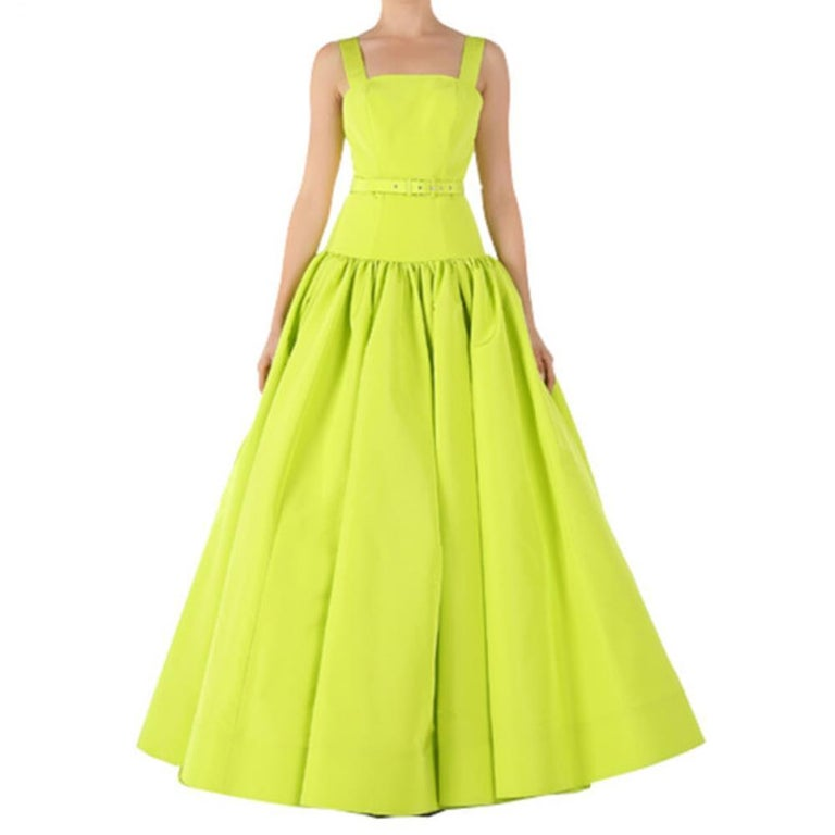 Christian Siriano Lime Silk Drop-Waist Gown S For Sale At