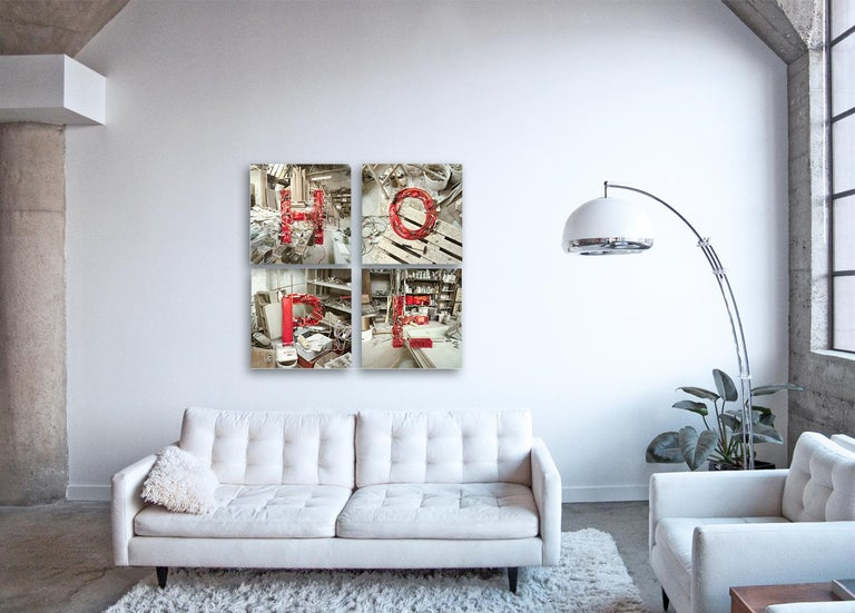 HOPE -  4 conceptual photographs spelling motivational word - framed - Brown Abstract Print by Christian Stoll