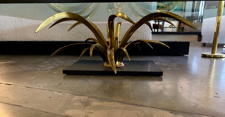 French Christian Techoueyres Bronze and Glass Table For Sale