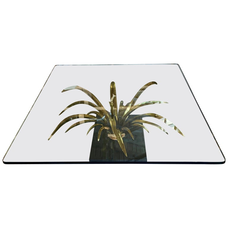 Christian Techoueyres Bronze and Glass Table For Sale
