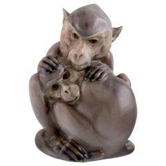Christian Thomsen for Royal Copenhagen, Rare Porcelain Figure, Two Monkeys