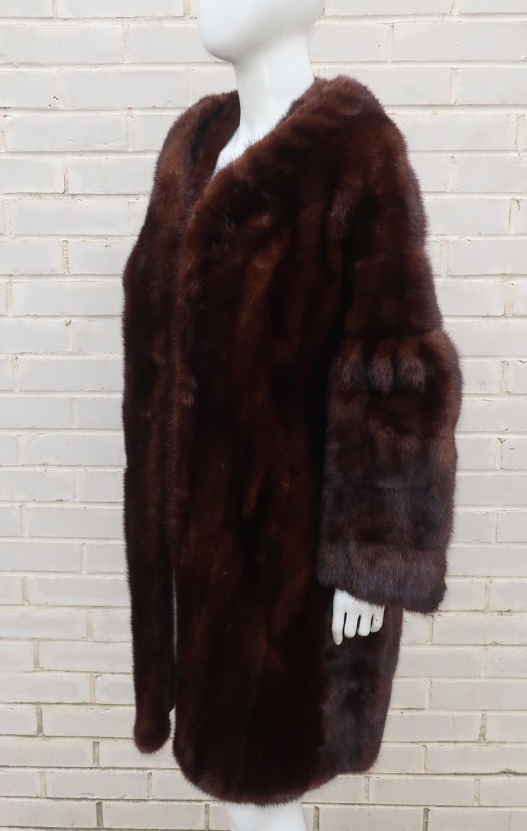 Christie Brothers New York Brown Mink Fur Coat For Sale At