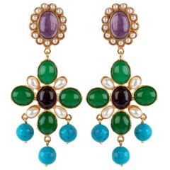 Christie Nicolaides Earrings in Agate with Fresh Water Pearls