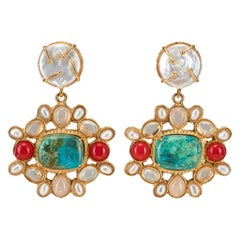 Christie Nicolaides Earrings in Turquoise like Chrysocolla, Ros Quartz & Pearl