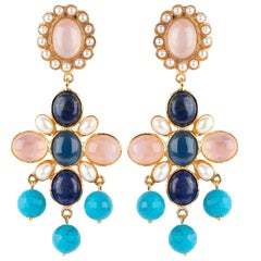 Christie Nicolaides Florencia Earrings in Lapis Lazuli & Rose Quartz