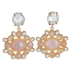 Christie Nicolaides Gold Abriana Earrings in Pink Quartz &  Pearl