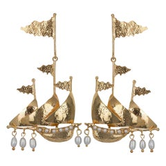Christie Nicolaides Gold Capitana Earrings in Pearl