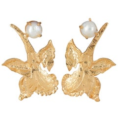 Christie Nicolaides Gold Chanel Earrings in Pearl