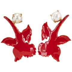 Christie Nicolaides Gold Chanel Earrings in Red Enamel & Pearl