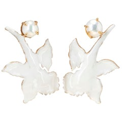 Christie Nicolaides Gold Chanel Earrings in White Enamel & Pearl