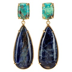 Christie Nicolaides Gold Franca Earrings in Blue Sodalite & Turquoise