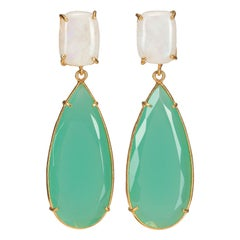 Christie Nicolaides Gold Franca Earrings in Moonstone & Green Crystal