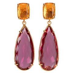 Christie Nicolaides Gold Franca Earrings in Pink Quartz & Amber