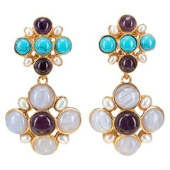 Christie Nicolaides Gold Guinevere Earrings in Amethyst, Turquoise & Pearl